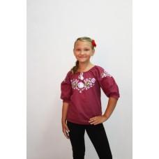 Блузка для девочек Valeri-tex 1494-20-311-016 Бордовый