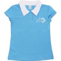 Футболка-поло для девочек Valeri-tex 1868-55-042-008 Голубой